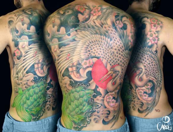 Tatuaje Grulla y Tortuga - Caroli Dilli - Tatuaje Japones